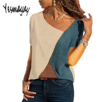 Casual T-shirt Women Plus size 5XL Summer Short Sleeve Tops Tshirt Femme Patchwork tee t shirts women Cotton Camiseta Mujer 2019
