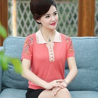 5XLLarge Size Ice Silk Top Summer Casual Tops Summer POLO 2019 Embroidery Hipster POLO Elegant 40 50 Years Old Women's AS414