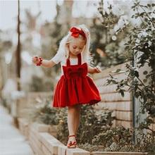 Pudcoco/Рождественская Детская Праздничная юбка принцессы на подтяжках с бантом для маленьких девочек; юбка принцессы с бантом для маленьких девочек
