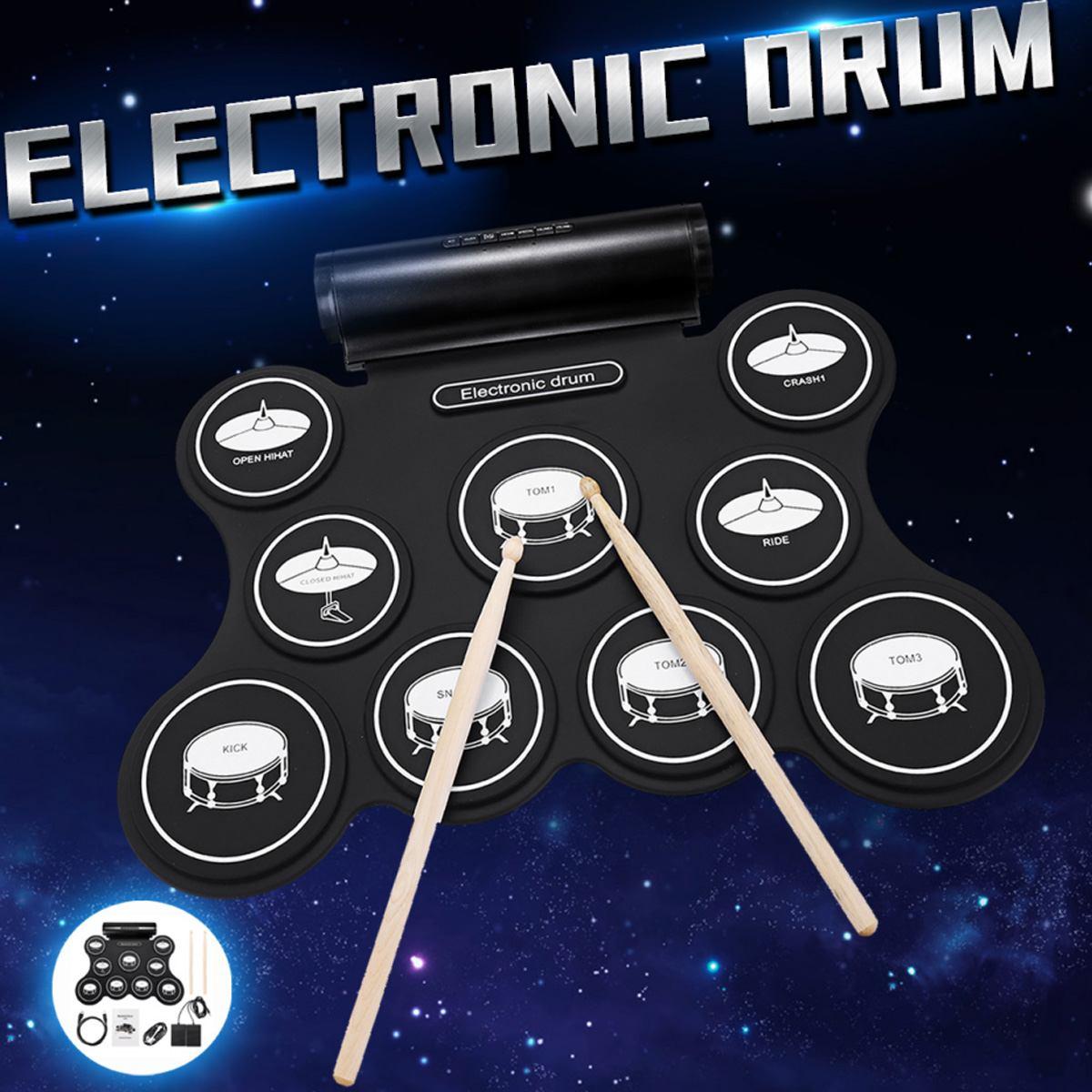 G3009L 9 Pad électronique rouleau tambour Portable électronique batterie Kit USB MIDI tambour avec baguettes pédales