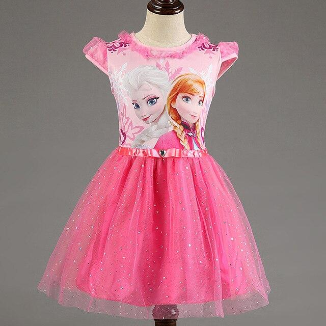 Chica vestido de marca de verano de las niñas de encaje lentejuelas princesa Elsa Anna vestido de reina de la nieve fiesta de Halloween juego de rol traje