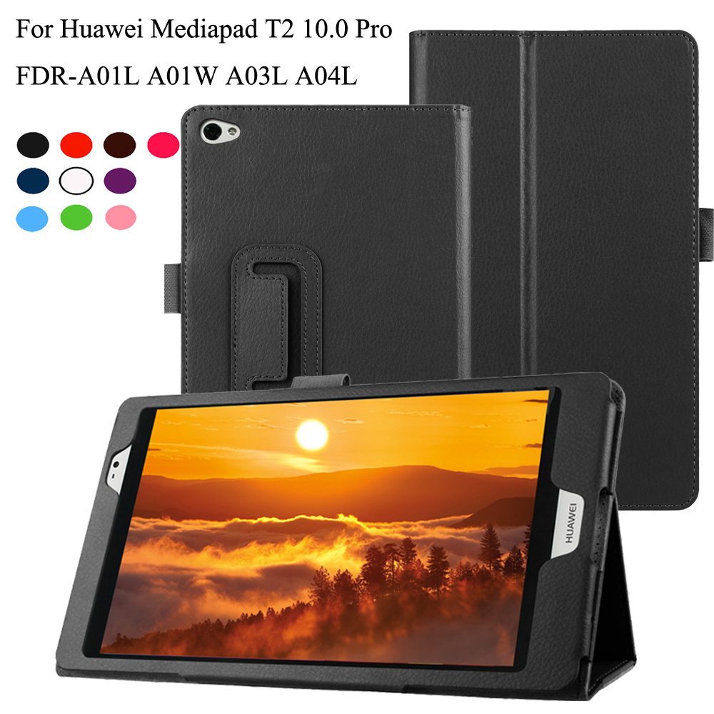 PU Leather Flip Stand Case For Huawei MediaPad T2 10.0 Pro Cover for FDR-A01L FDR-A01W FDR-A03L FDR-A04L 10.1 inch Tablet image