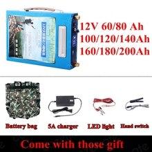 Wysoka pojemność wysoka moc 12V 5V USB 100AH 120AH 150AH 180 220AH akumulator litowo polimerowy do łodzi motorowych zasilanie panelem słonecznym LED