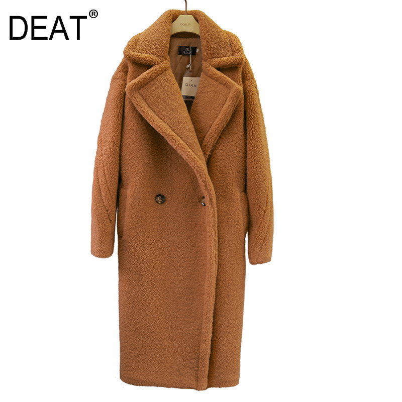 DEAT 2019 new fashion women clothes turn down collar woolen double breasted warm winter coat heavy