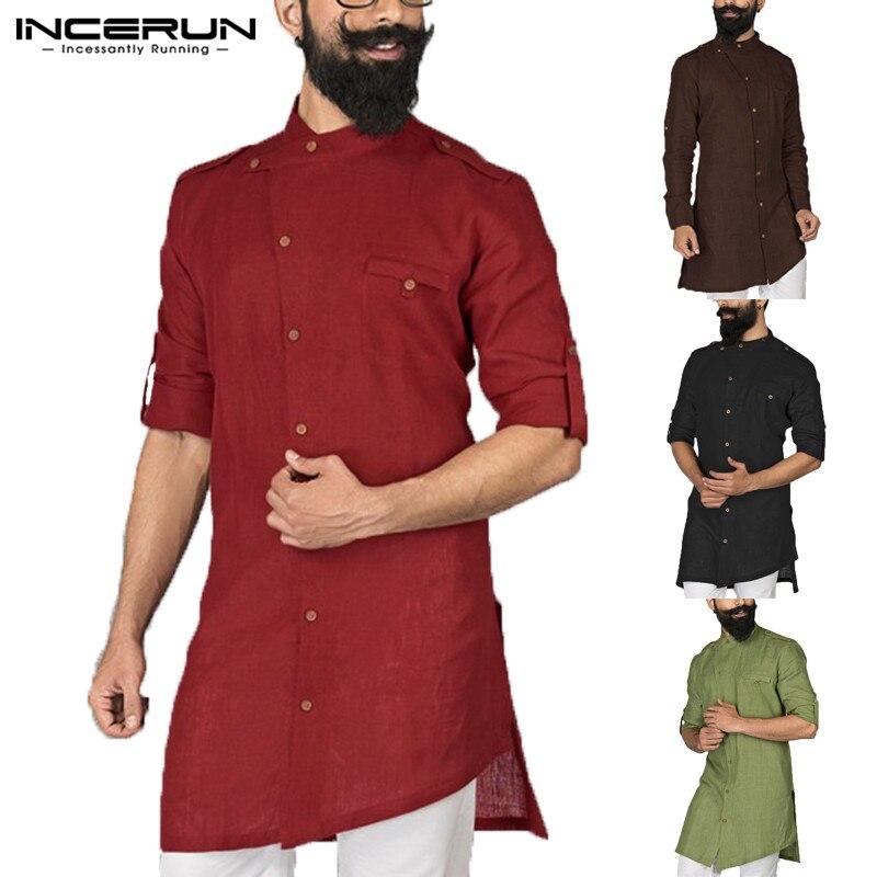 INCERUN 2020 Men Shirt Long Sleeve Stand Collar Button Tops  Suit Men Islamic Arab Kaftan Muslim Clothes Middle East Shirt
