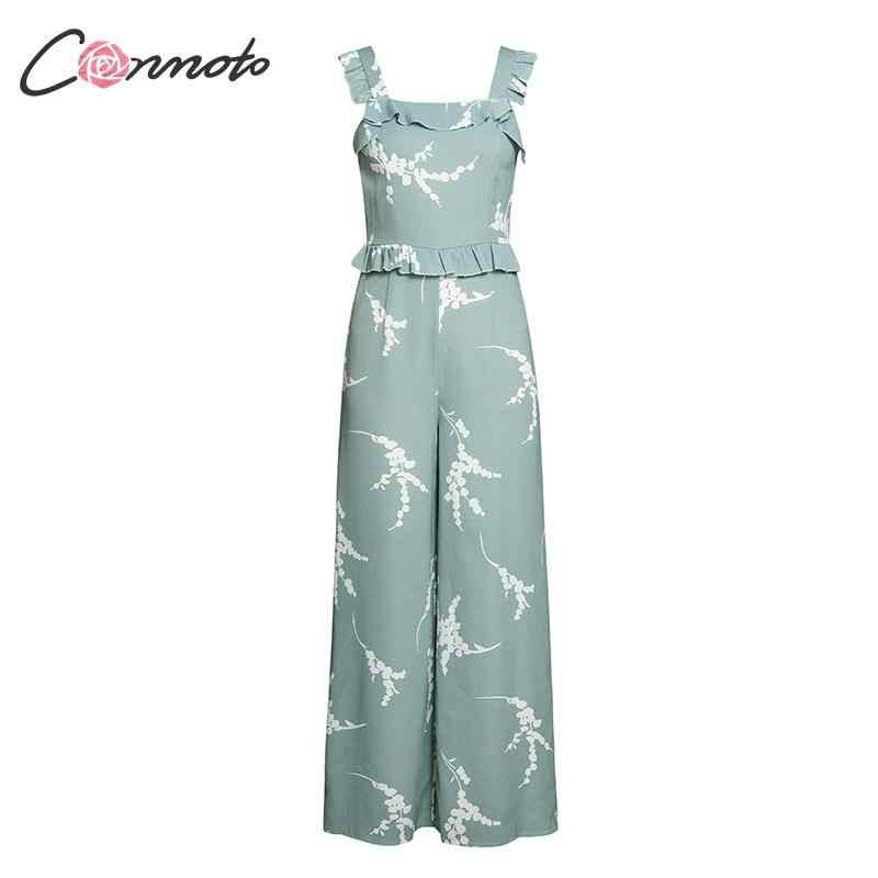 Conmoto модный принт зеленый комбинезон с завышенной талией для женщин 2019 Лето открытая спина широкие ноги длинные Комбинезоны Женский комбинезон большого размера