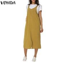 New Arrival Women Cotton Dress 2019 Autumn Female Vintage Casual Loose V Neck Sleeveless Split Pockets Mid Calf Vestidos