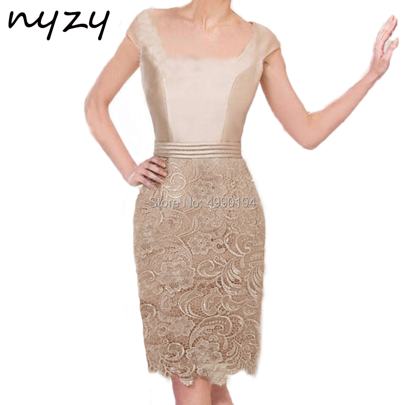 NYZY M50A Champagne Lace Dress Cocktail Short Elegant Robe Soiree For Wedding Party Guest Evening Vestidos De Festa Curto 2019