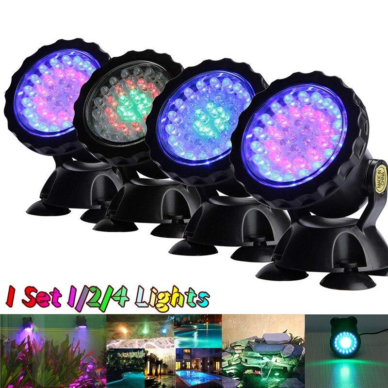 1 Juego 1/2/4 luz impermeable IP68 RGB 36 LED luz subacuática para piscina fuentes agua jardín estanque acuario