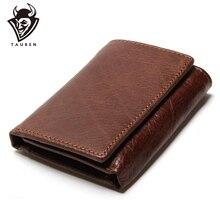 RFID кошелек, Противоугонный, сканирующий кожаный кошелек, на застежке, для отдыха, мужской тонкий кожаный мини-кошелек, чехол для кредитных карт, тройной кошелек