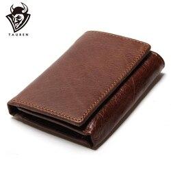 RFID Wallet Antitheft Scanning Leather Wallet Hasp Leisure Men's Slim Leather Mini Wallet Case Credit <font><b>Card</b></font> Trifold Purse