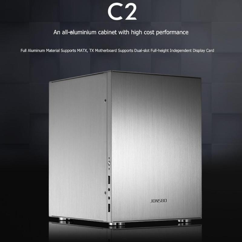 C2 Aluminum Computer Case Desktop PC Chassisfor Mini ITX/Micro-ATX (245x215mm) 200x224x270mm For 170*170mm motherboard 3