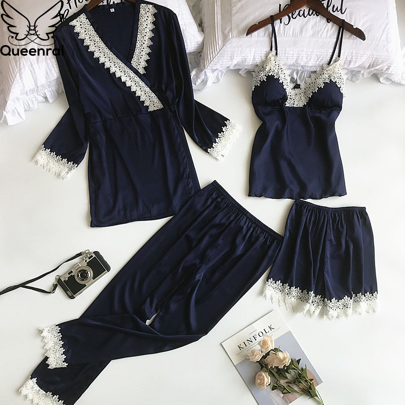 Queenral 4pcs Pajama Sets For Women Sleep Lounge Satin Sleepwear Pijama Spring Home Wear Pyjama With Chest Pads Nightwear Set