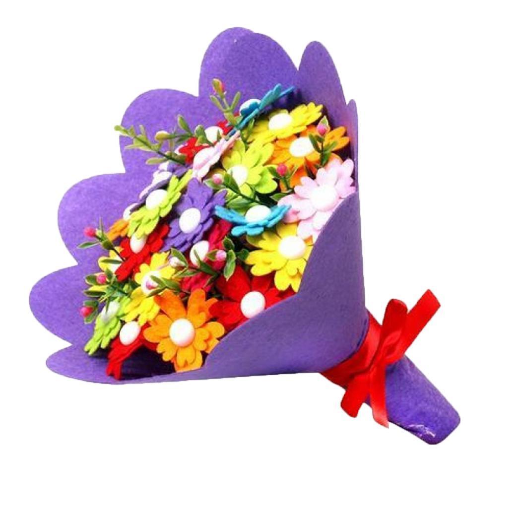 DIY Button Bouquet Handmade Children Craft Flower Home Decor Mother's Day Multicolor Gift