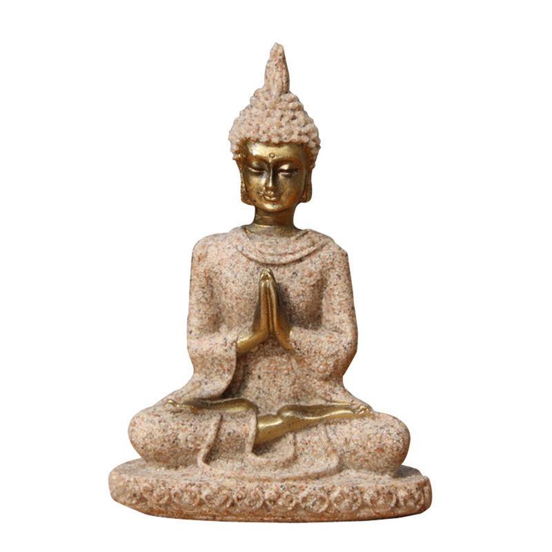 AUGKUN Sandstone Buddha Statue Sitting Meditation Buddha Sculpture Handmade Figurine Meditation Miniatures Ornament Statue Home