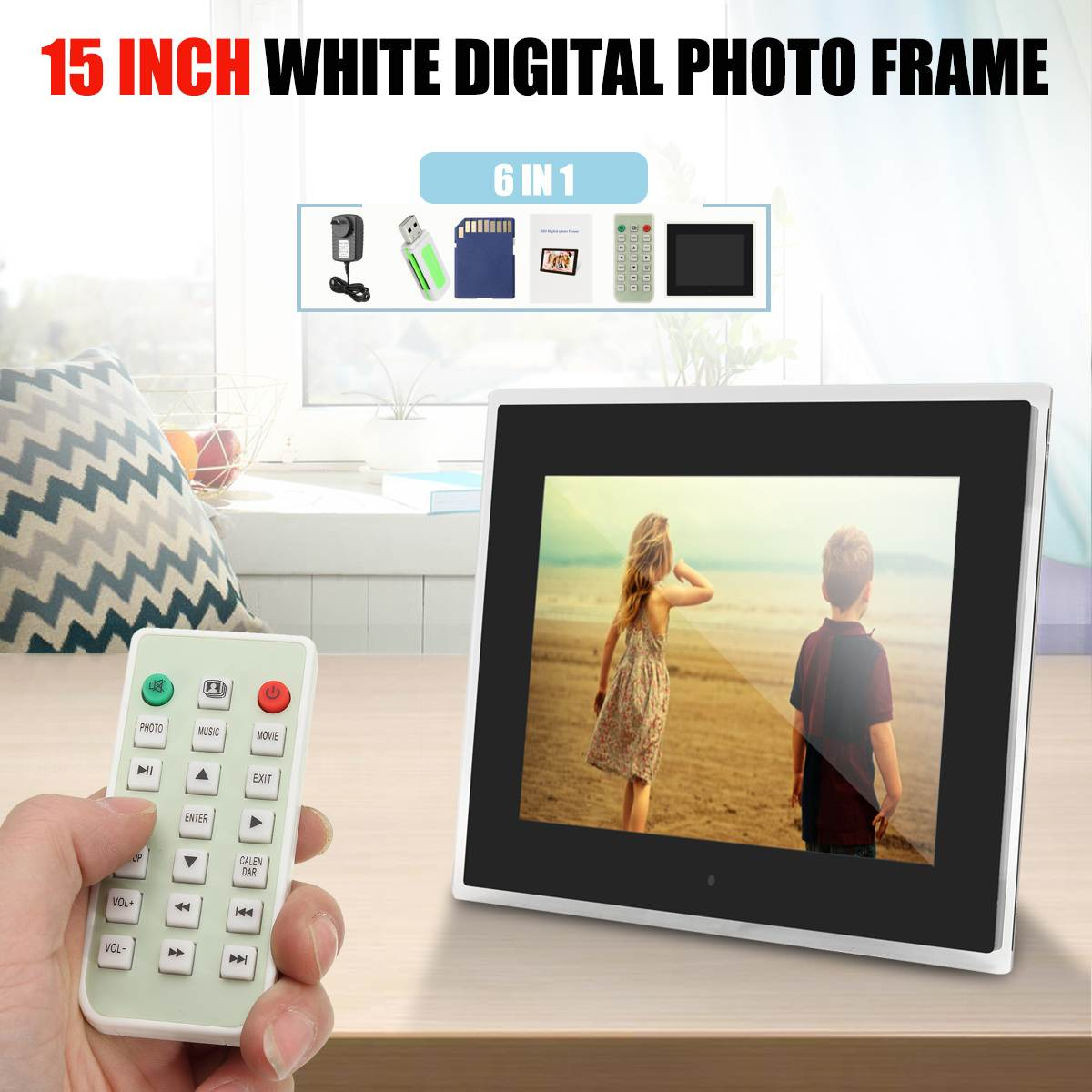 15 Black HD Digital Photo Frame 1024x768 LED Display Playback Electronic Album Picture Movie Player Timing Alarm Clock 2GB SD15 Black HD Digital Photo Frame 1024x768 LED Display Playback Electronic Album Picture Movie Player Timing Alarm Clock 2GB SD