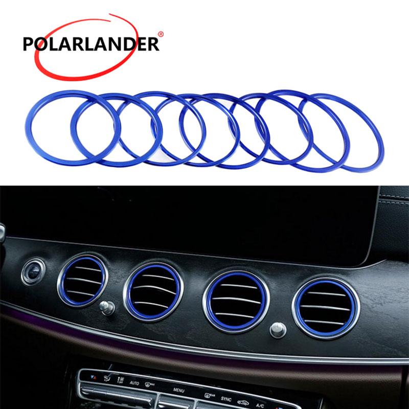 Автомобиль кондиционер декоративное покрытие планки 8 шт. выходе украшения кольца для Benz E class W213 E200 300L аксессуары для интерьера