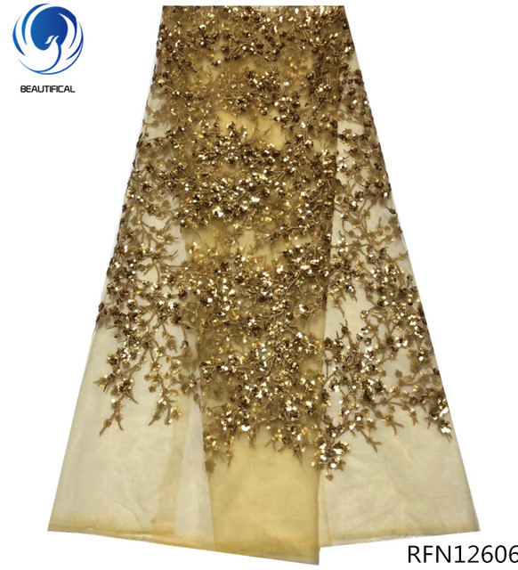 BEAUTIFICAL african french lace fabric gold lace fabrics high quality 2018 sequin lace 5yards/piece embroidered fabric RFN126