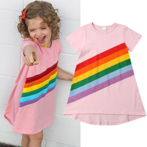 615b3b162ea9c Summer Toddler Kids Baby Cute Girls Striped Cotton Princess Dress Rainbow  Printed Party Casual Sundress Clothes 2 6Y Price:-in Dresses from Mother &  ...