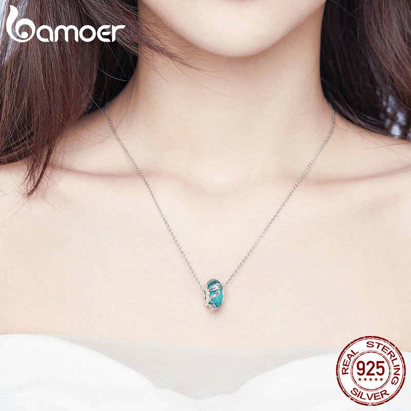BAMOER Glass Beads 925 Sterling Silver Mermaid Sea Blue Murao Handmade Charm fit for Necklace Women Jewelry High Quality SCC1154