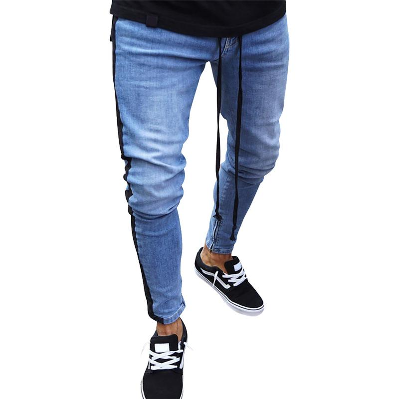 New Fashion Skinny Jeans Men 2018 Men Stylish Ripped Jeans Pants Biker Skinny Slim Straight Frayed Denim Trousers Clothes