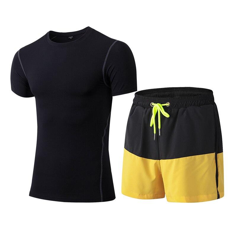 Yuerlian XXL kompressziós fitnesz harisnyatartó szett Gyors szárítású sportruházat jelmez tornaterem póló rövidnadrág tréningruha férfiaknak sportruházat futás