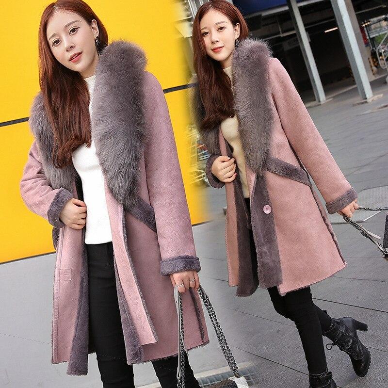 Tissu Collier Femmes Revers Fourrure Moyen Épissage Lourd Suède Pink Style Nouveau Cheveux Hiver Mode Manteau Laine De Long 0nwAdU77qg