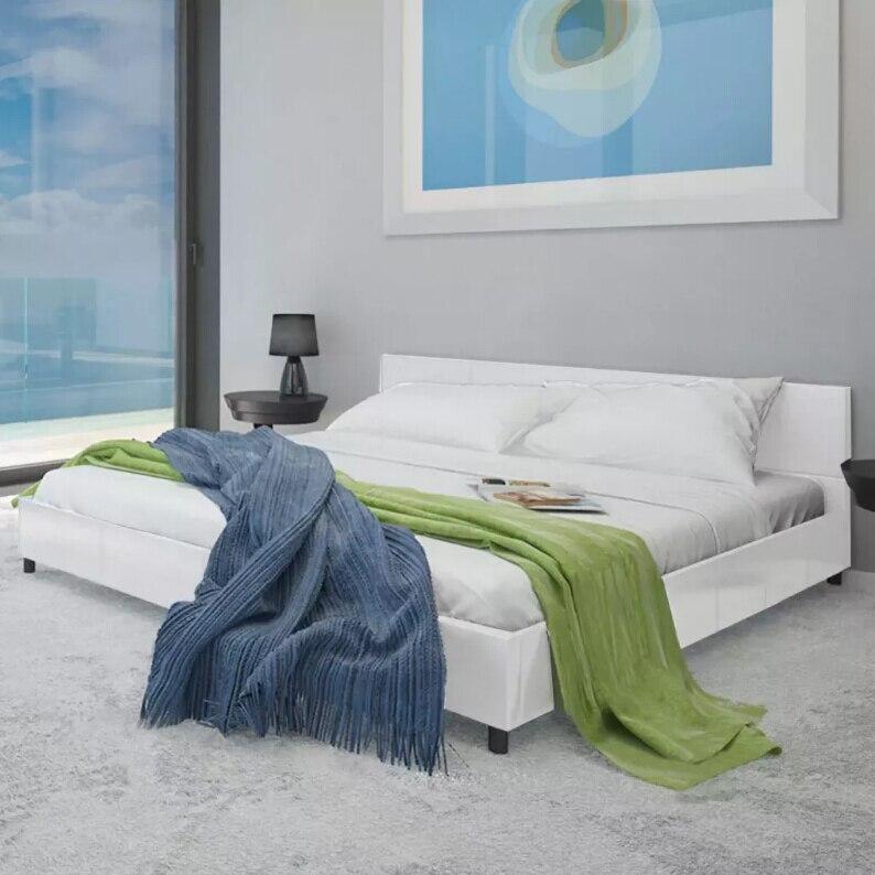 VidaXL Top Qualität künstliche leder weiß bett 180 × 200 cm Klassische moderne design Bett Robuste rahmen leder abdeckung für hause