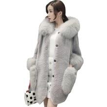 купить Black Fashion Winter Jacket Women Warm Large Fur Collar Faux Fur Jacket Parka Casual Plus Size Long Fur Coat Fourrure Femme L230 по цене 4141.69 рублей