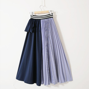 Image 3 - Lanmrem 2020新秋のファッション女性服薄型ストライプ弾性フリルコントラスト色ラインhalfbodyスカートWG19005