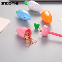 EZONE 1PC Carrot Pencil Sharpener Creative Kawaii Shape Student Stationery Supply Color Random