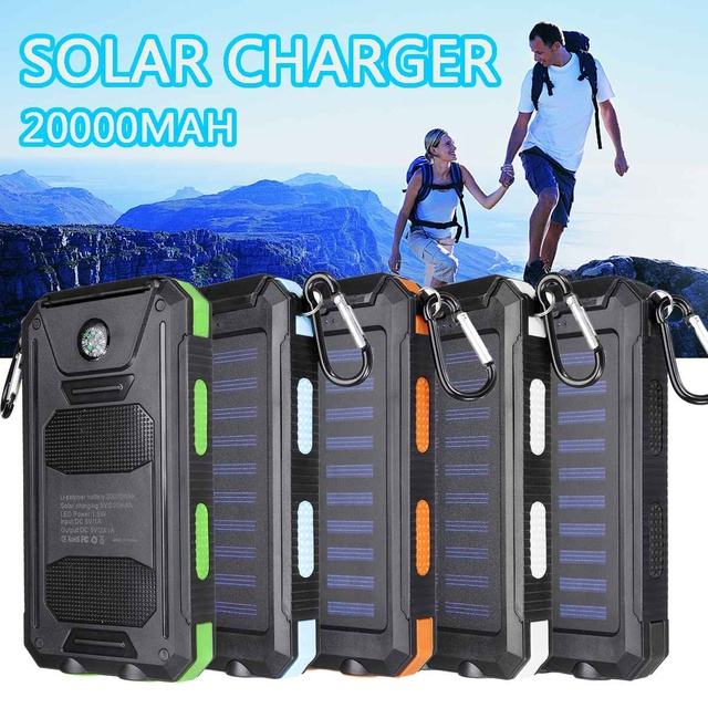 20000mAh Waterproof Portable Solar Power Bank Cell Phone Solar Charger Dual USB Charging Ports LED Light Carabiner Compasses