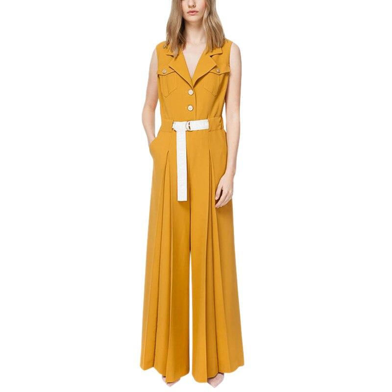 Jeden kawałek strój kobiety urząd lady odzież robocza żółty kombinezon ścięty kołnierz bez rękawów klapa kieszenie z paskiem spodnie plisowane spodnie romper w Kombinezony od Odzież damska na  Grupa 1