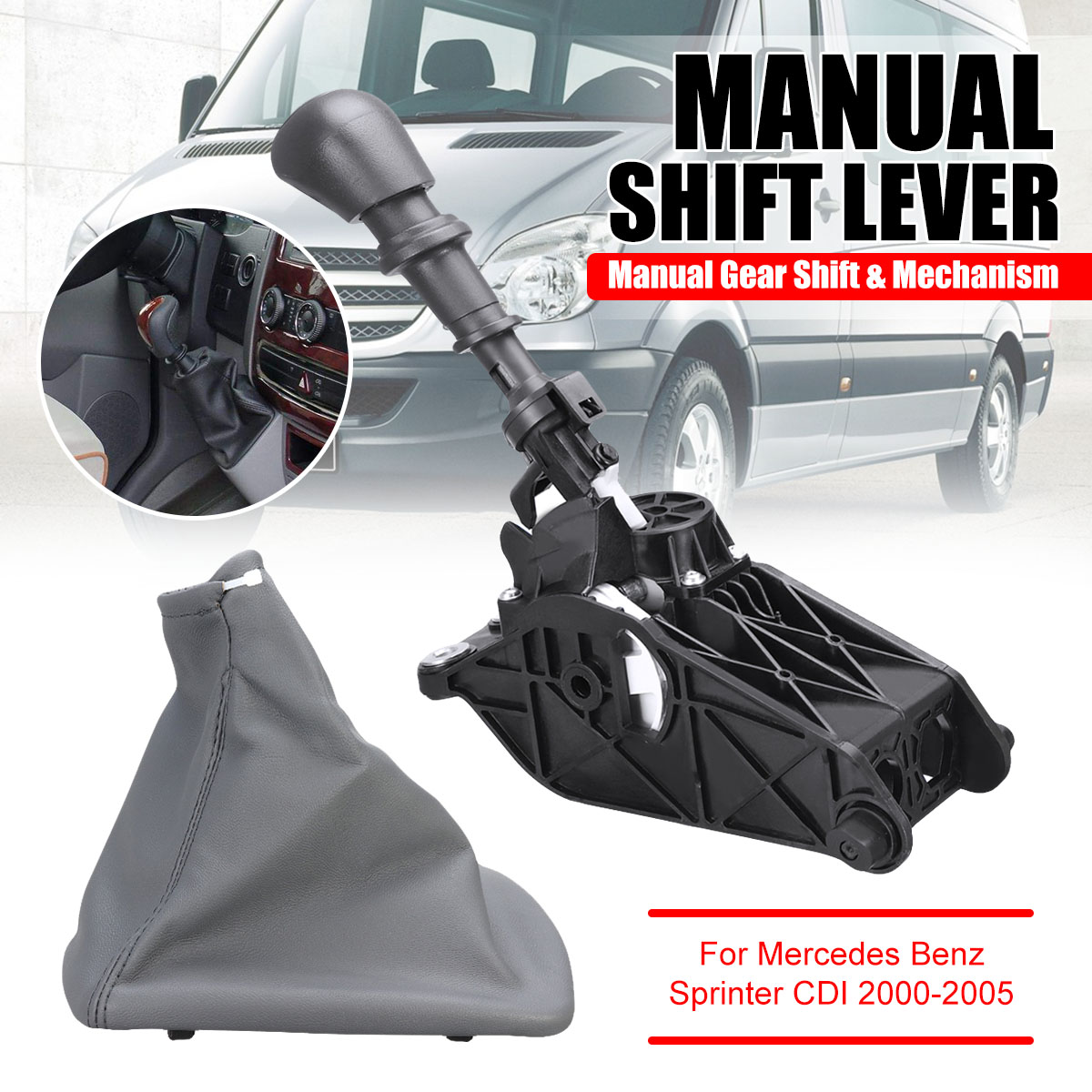5 velocidade Da Engrenagem Do Carro Maçaneta de troca de Boot Tampa Do Mecanismo de Botão da caixa de Velocidades Manual Alavanca de Câmbio Para Mercedes Benz Sprinter CDI 2000-2005