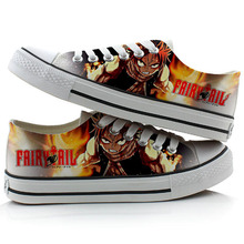 Japan Anime Fairy Tail Cosplay Canvas Shoes Unisex Halloween Student Flat Bottom Shoes Hand-painted Classic Sneakers все цены