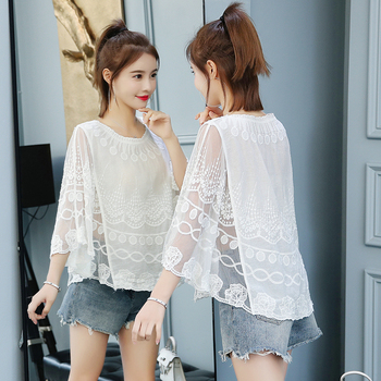 Women Lace One size shirt 2019 summer O neck printing Lace shirt female knit hollow flower blouse women tops and blouses 4015 50 4