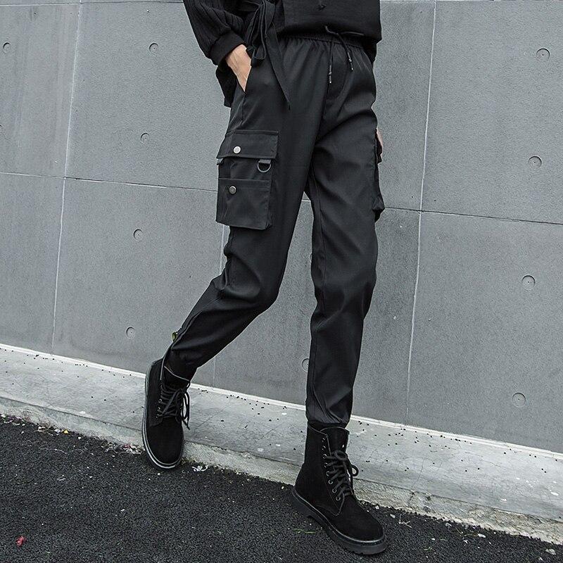 Mujer De Alta Largo Black Sólido 2019 Invierno Le785 Personalidad Harén Primavera Cintura Pantalones Cordón Color eam Elegante Bolsillos Negro Ftqw71wz6