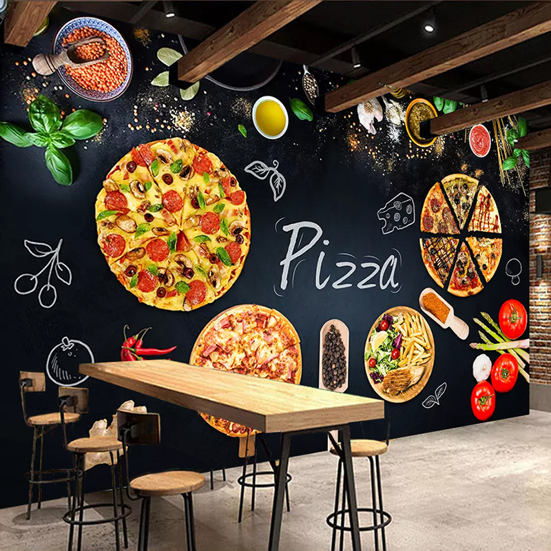 Custom 3D Mural Wallpaper Wall Painting Personalized Pizza Shop Blackboard Photo Wall Paper Cafe Restaurant Backdrop Wall Decor