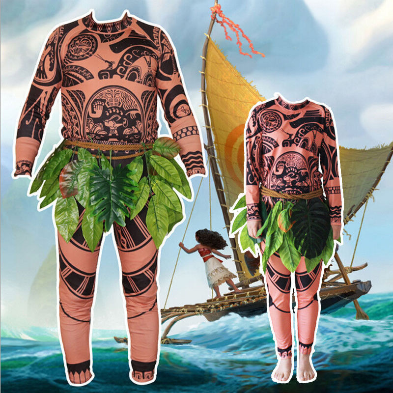 Cosplay Costumes Moana Maui Tattoo T Shirt Pants Halloween Party Adult Mens Kids Cosplay Costume
