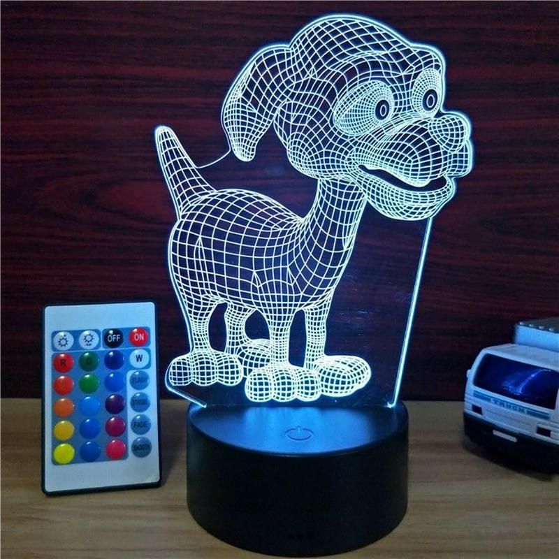 Puppy 3D Light USB Touch Colorful Remote Control Innovative Small Table Lamp LED Acrylic Night Light