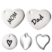 Mom Love Dad Charms Pendants Stainless Steel Carving Heart Charm for DIY Necklace Bracelet Jewelry Making Accessories Gifts