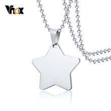 "Vnox Star Shape Pendant For Women Men Necklace Stainless Steel Plain Unisex Jewelry 24"" Beads Chain(China)"