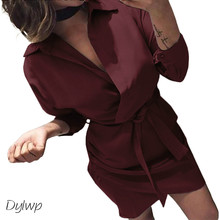 Women Shirt Dress 2018 Autumn Long Sleeve Turn-Down Collar Asymmetry Dress Plus Size Casual Ladies Solid Mini Dresses With Belt fashion autumn women shirt dress casual irregular short dress belt turn down collar 3 4 sleeve vintage sexy mini shift dresses