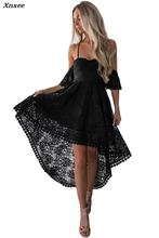 2018 New Sexy Women Black Lace Backless Off Shoulder High Low Prom Party Dress Back Cross Strap Dresses Vestido De Renda Xnxee