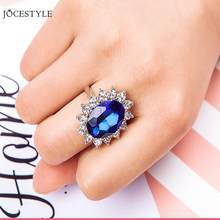 Blue Sapphire Diamond Ring Women Engagement Wedding Luxury Finger Ring for WomenJewelry Gifts(China)