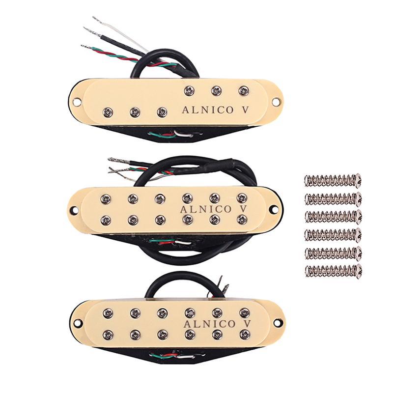 1 セットギターピックアップ黄色シングルコイルアルニコ V ネックブリッジミドルピックアップセットピックアップためギターアクセサリの交換部品  グループ上の スポーツ & エンターテイメント からの ギター パーツ & アクセサリー の中 1