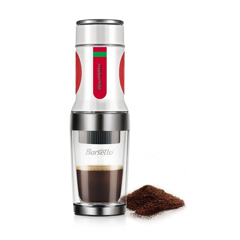 BARSETTO Portable Hand Press Coffee Maker Mini Handheld Espresso Pods Coffee Capsule Machine(White) esspero i nova white coffee