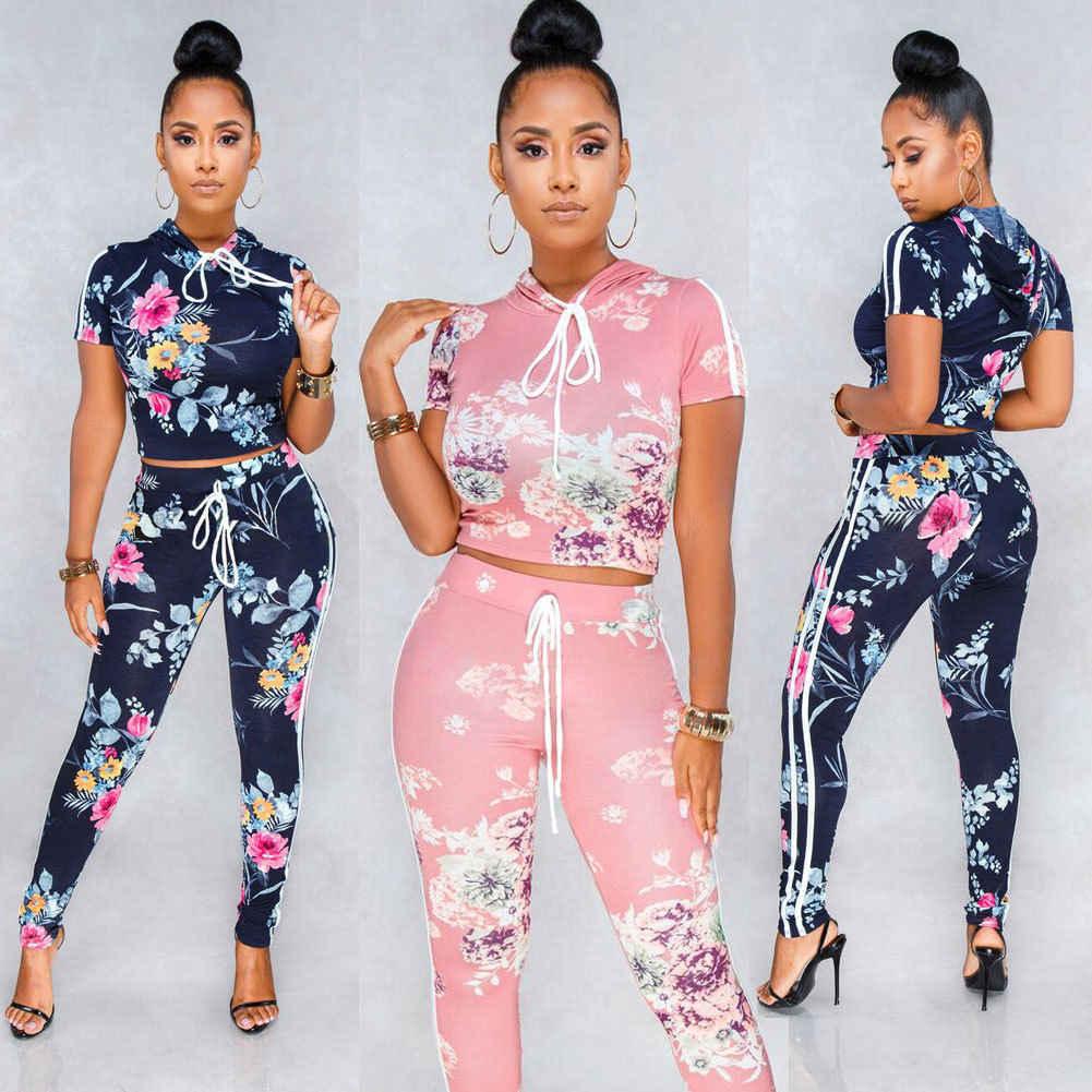 2018 nuevo estilo conjuntos de Mujeres de manga corta con capucha estampado Crop Top + Pantalones largos de dos piezas ropa de moda