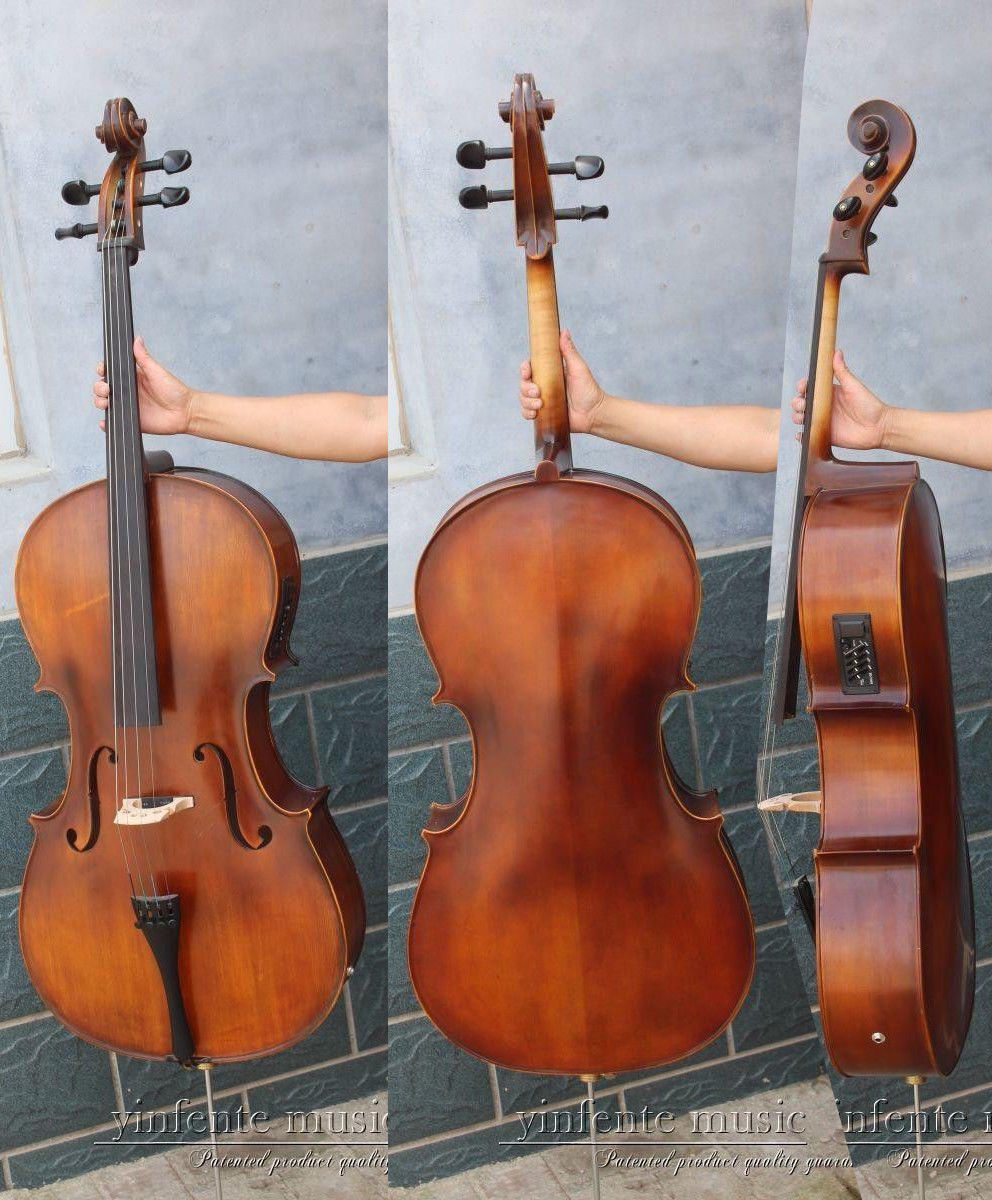 Yinfente Cello 4/4 Electric Acoustic Cello Hand Made Maple Spruce Full Size #4