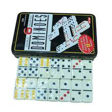 White Colored Dots Dominoes Set Simple Iron Boxed Fun Domino Table Toys Leisure Game Card For Family Travel(China)